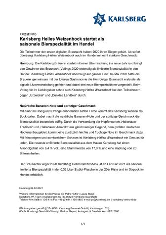Karlsberg Helles Weizenbock startet als saisonale Bierspezialität im Handel