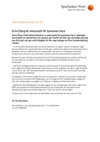 Elvira Öberg blir ambassadör i Sparbanken Nord