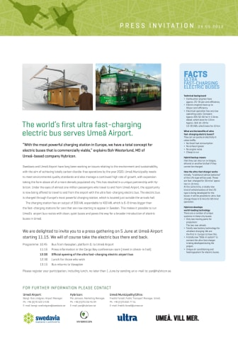 Press invitation: world's first ultra fast-charging electric bus serves Umeå Airport