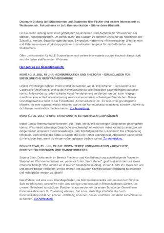 Webinare für Studis im Juli: Kommunikation – Stärke deine Rhetorik.
