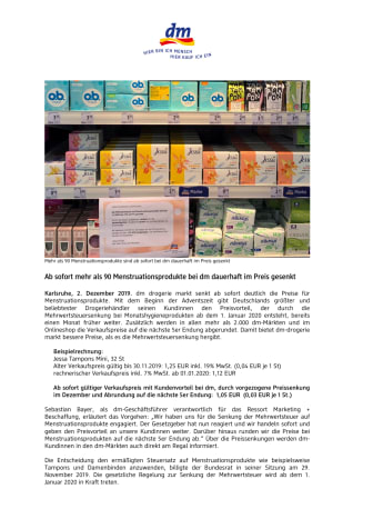 Ab sofort mehr als 90 Menstruationsprodukte bei dm dauerhaft im Preis gesenkt