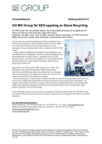 GO MO Group får SEO-uppdrag av Stena Recycling