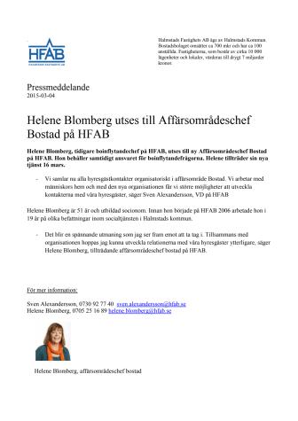 Helene Blomberg utses till Affärsområdeschef Bostad på HFAB