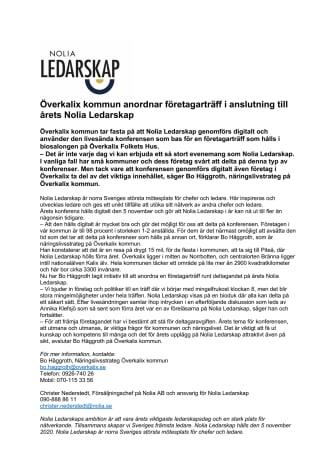 Överkalix kommun anordnar företagarträff i anslutning till årets Nolia Ledarskap
