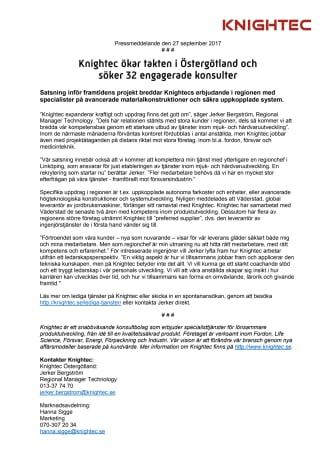 Knightec ökar takten i Östergötland och  söker 32 engagerade konsulter