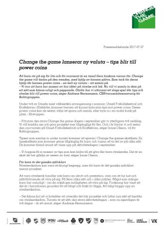 Change the game lanserar ny valuta – tips blir till  power coins