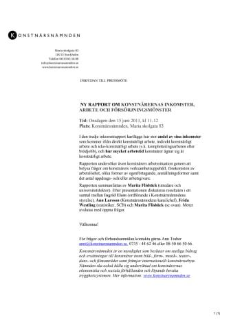 Inbjudan till pressmöte den 15/6 kl 11-12 på Konstnärsnämnden - ny rapport om konstnärernas inkomster, arbete och försörjningsmönster