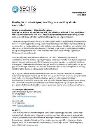 Secits största ägare, Jens Wingren utses till ny VD och koncernchef.