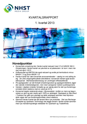 NHST Kvartalsrapport Q1 2013