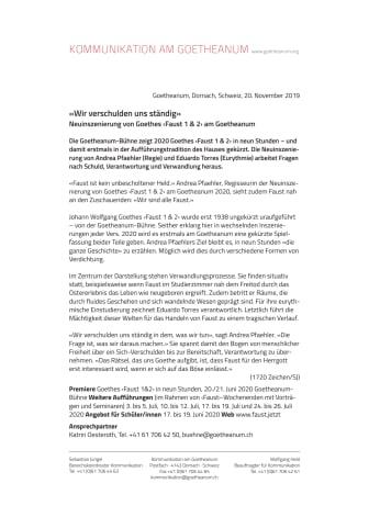 «Wir verschulden uns ständig». Neuinszenierung von Goethes ‹Faust 1 & 2› am Goetheanum