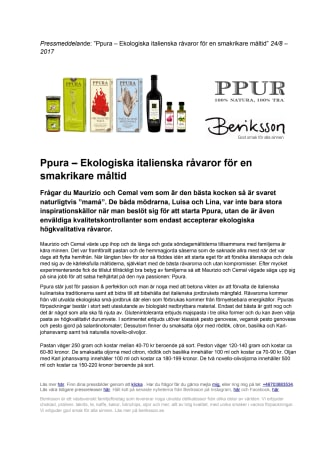Ppura – Ekologiska italienska råvaror för en smakrikare måltid