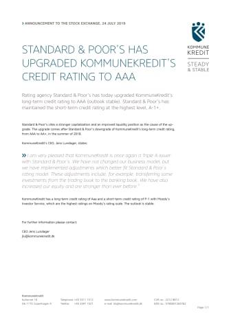 Standard & Poor's has upgraded KommuneKredit's credit rating to AAA