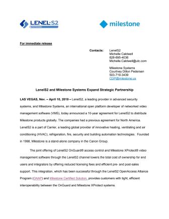 LenelS2 and Milestone Systems Expand Strategic Partnership