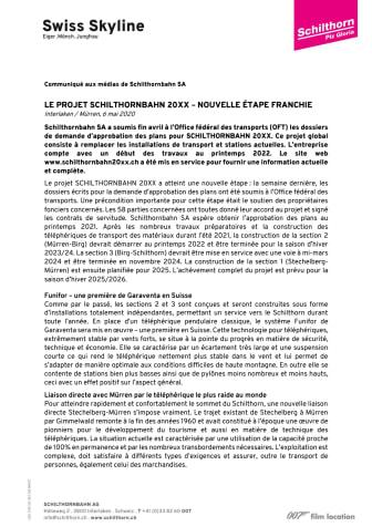 LE PROJET SCHILTHORNBAHN 20XX –NOUVELLE ÉTAPE FRANCHIE