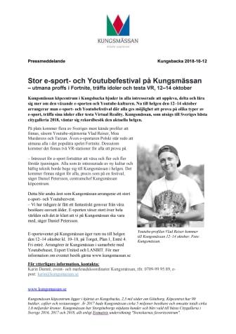 Stor e-sport- och Youtubefestival på Kungsmässan – utmana proffs i Fortnite, träffa idoler och testa VR, 12–14 oktober