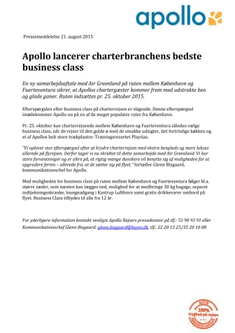 Apollo lancerer charterbranchens bedste business class