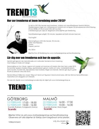 Föreläsningar om trend inom inredning under januari och februari 2013