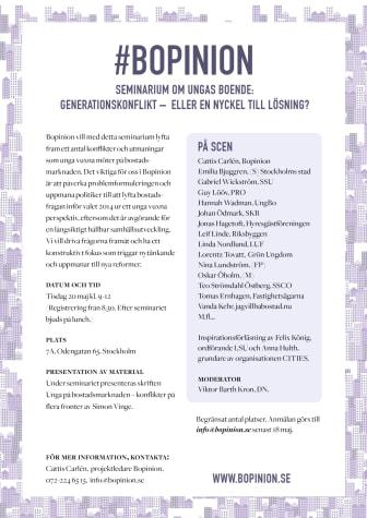 Inbjudan seminarium om ungas boende 20 maj
