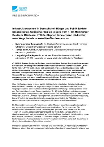 Infrastrukturwechsel in Deutschland: Bürger und Politik fordern bessere Netze. Gebaut werden sie in Serie vom FTTH-Marktführer Deutsche Glasfaser. CTO Dr. Stephan Zimmermann plädiert für neue Wege beim bundesweiten Glasfaserausbau