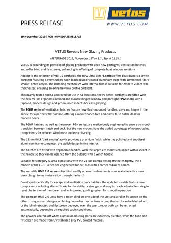 METSTRADE 2019: VETUS Reveals New Glazing Products