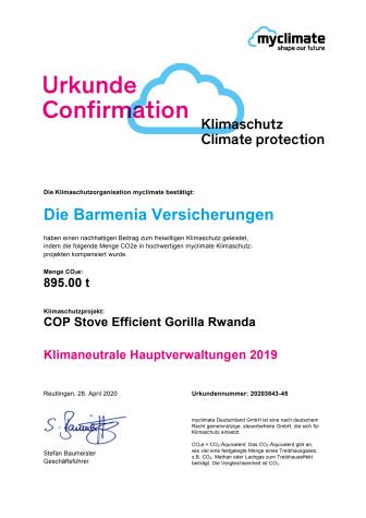 myclimate: Urkunde Klimaneutrale Barmenia-Hauptverwaltungen 2019
