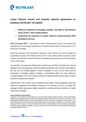 Liquid Telecom renews and expands capacity agreements on Eutelsat's EUTELSAT 7B satellite