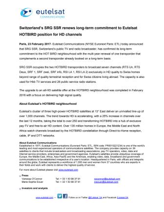 Switzerland's SRG SSR renews long-term commitment to Eutelsat HOTBIRD position for HD channels