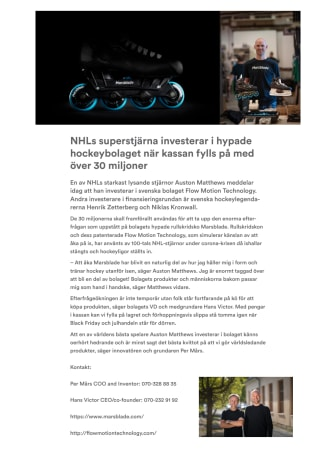 NHLs superstjärna investerar i hypade hockeybolaget när kassan fylls på med över 30 miljoner