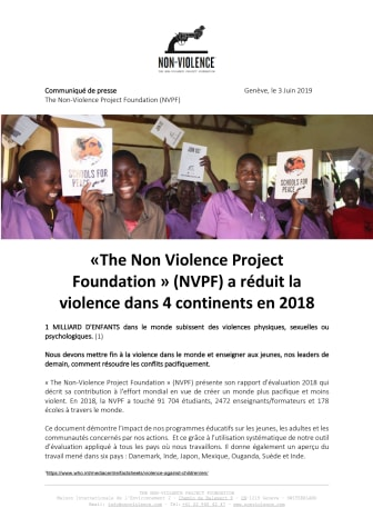 Francaise - The Non-Violence Project Foundation » (NVPF) présente son rapport d'évaluation 2018