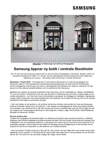 Samsung öppnar ny butik i centrala Stockholm
