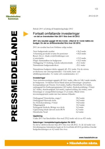 Bokslut 2011 och förslag till kompletteringsbudget 2012