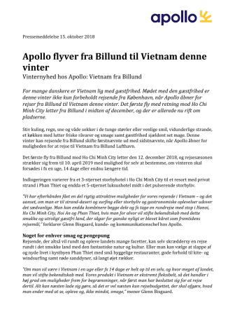 Apollo flyver fra Billund til Vietnam denne vinter