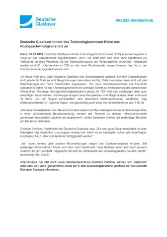 Deutsche Glasfaser bindet Technologiezentrum Kleve ans Hochgeschwindigkeitsnetz an