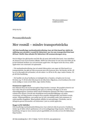Göta kanal, mer resmål – mindre transportsträcka