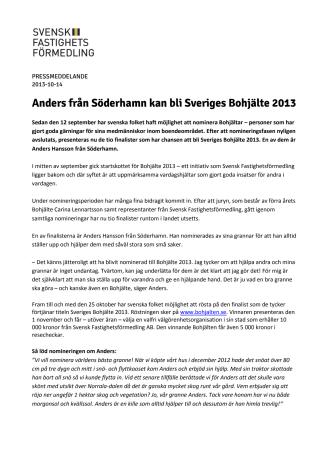 Anders från Söderhamn kan bli Sveriges Bohjälte 2013