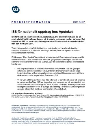 ISS får nationellt uppdrag hos Apoteket
