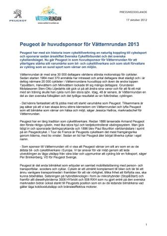 Peugeot är huvudsponsor för Vätternrundan 2013