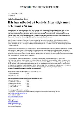 Unik kartläggning visar: Här har utbudet på bostadsrätter stigit mest och minst i Skåne