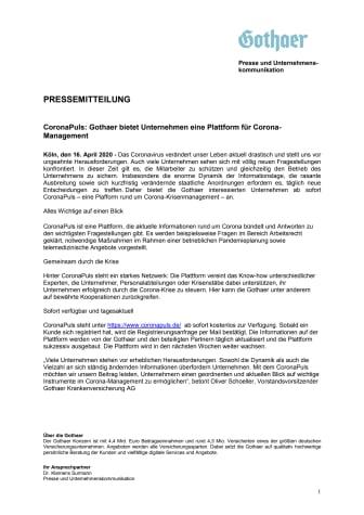 CoronaPuls: Gothaer bietet Unternehmen eine Plattform für Corona-Management