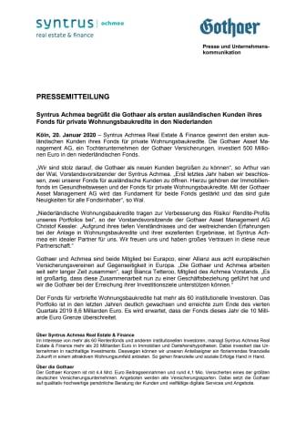 Syntrus Achmea begrüßt die Gothaer als ersten ausländischen Kunden ihres Fonds für private Wohnungsbaukredite in den Niederlanden