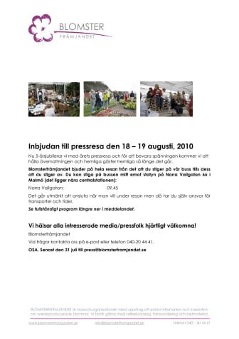 Inbjudan till pressresa den 18 – 19 augusti, 2010