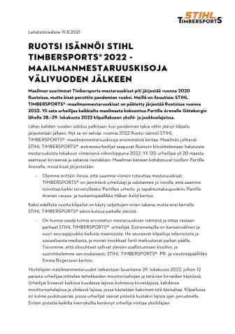 Ruotsi isännöi STIHL TIMBERSPORTS® 2022 -maailmanmestaruuskisoja välivuoden jälkeen.pdf
