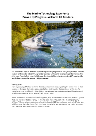 The Marine Technology Experience    Proven by Progress –Williams Jet Tenders–