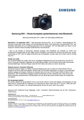 Samsung NX1 – första kompakta systemkameran med Bluetooth