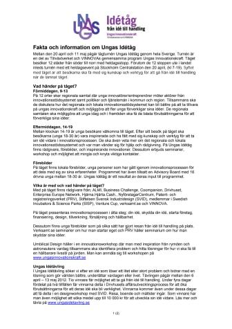 Fakta och information om Ungas Idétåg