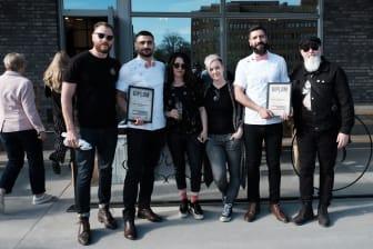 Södra Sveriges bästa barberare tillsammans med Luke Swenson från The Bearded Chap, domare Cari Forsgren och Kenneth Johnsson, samt projektledare Karin Fahlström.