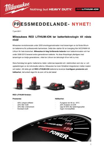 Milwaukees RED LITHIUM-ION tar batteriteknologin till nästa nivå!