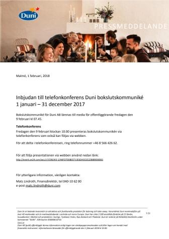 Inbjudan till telefonkonferens Duni bokslutskommuniké 1 januari – 31 december 2017