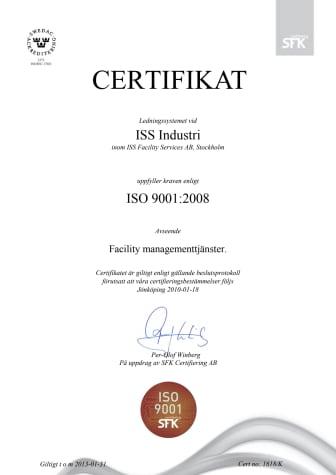 ISO 9001 certifikat ledningssystem ISS Industri