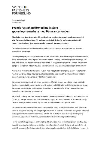 Svensk Fastighetsförmedling i större sponsringssamarbete med Barncancerfonden